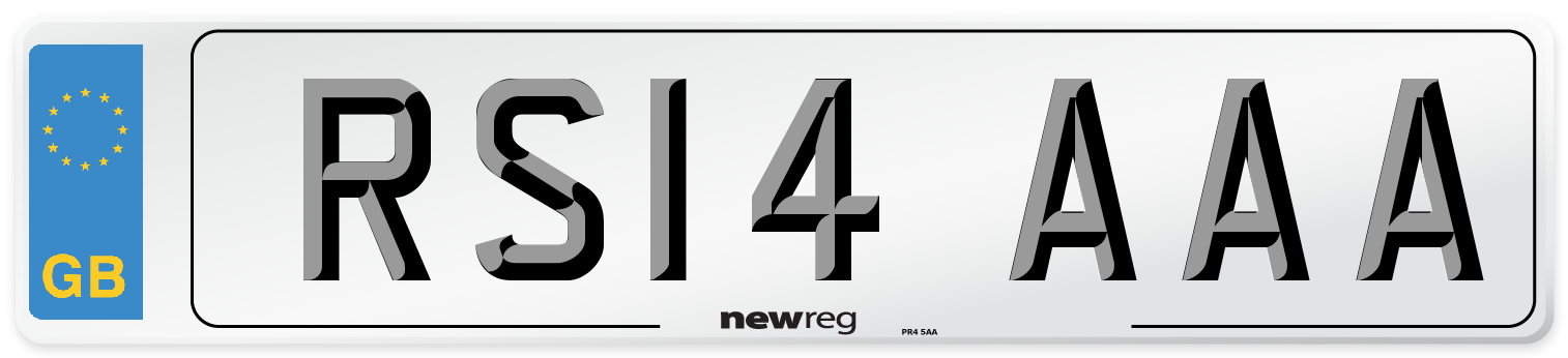 RS14 AAA Number Plate from New Reg