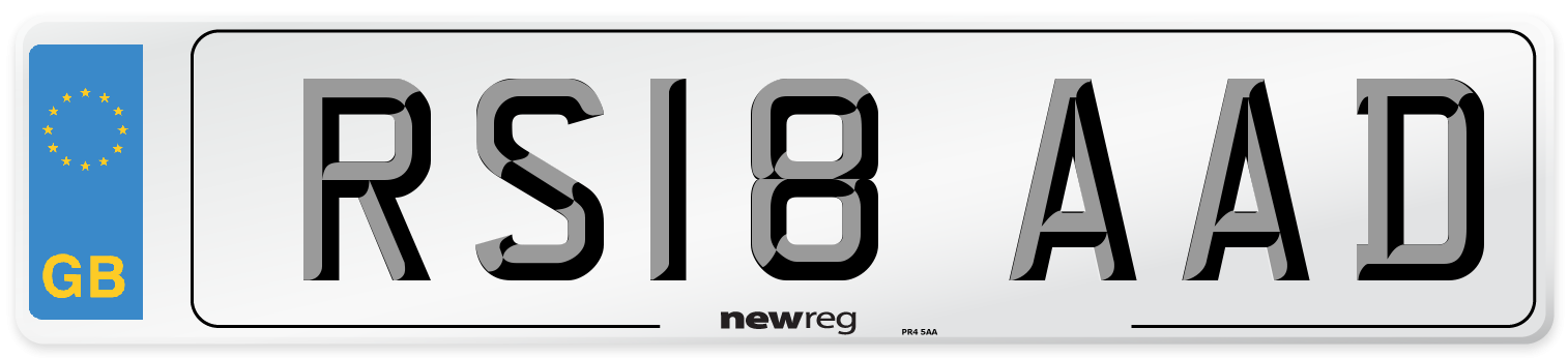 RS18 AAD Number Plate from New Reg