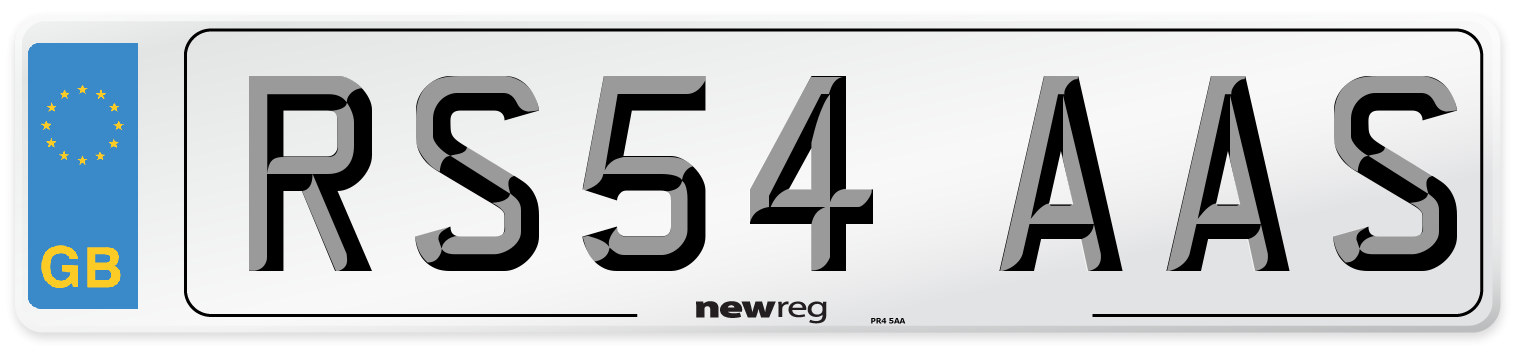 RS54 AAS Number Plate from New Reg