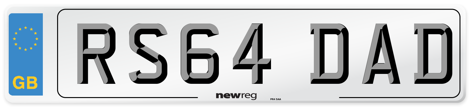RS64 DAD Number Plate from New Reg
