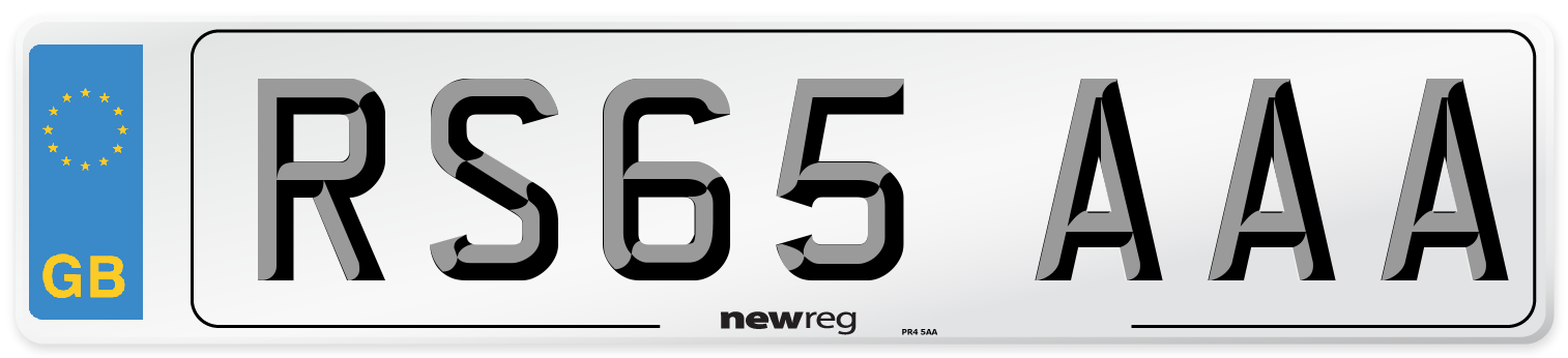 RS65 AAA Number Plate from New Reg