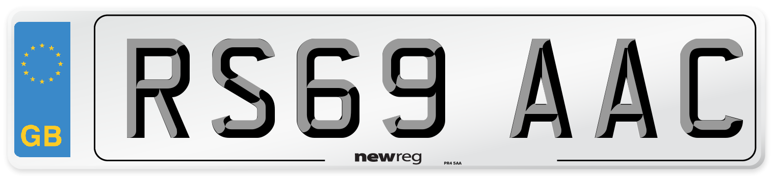 RS69 AAC Number Plate from New Reg
