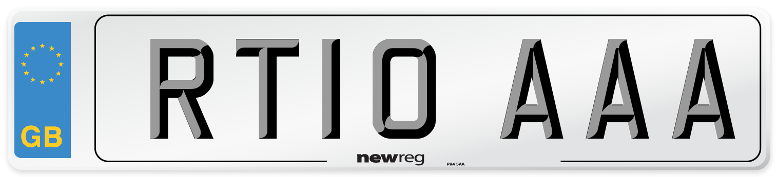 RT10 AAA Number Plate from New Reg