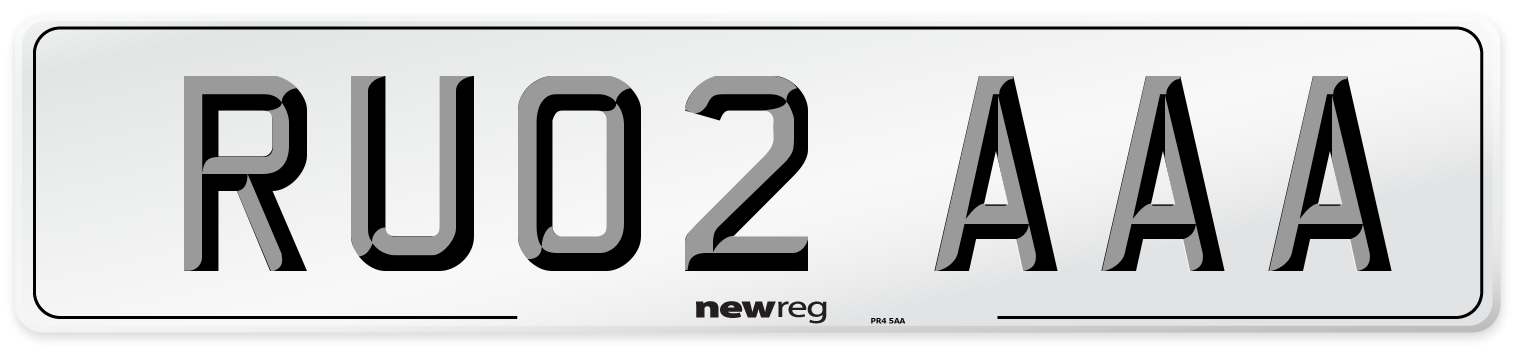 RU02 AAA Number Plate from New Reg