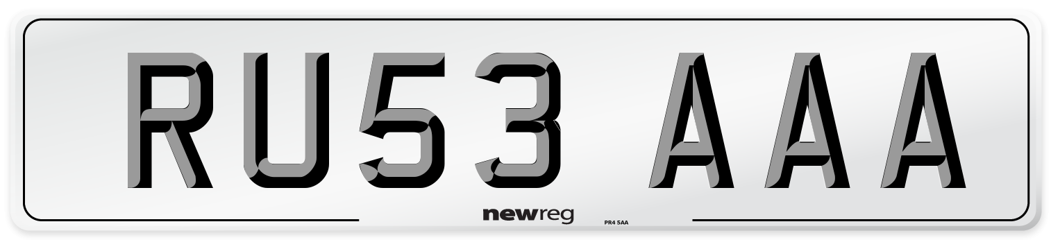 RU53 AAA Number Plate from New Reg