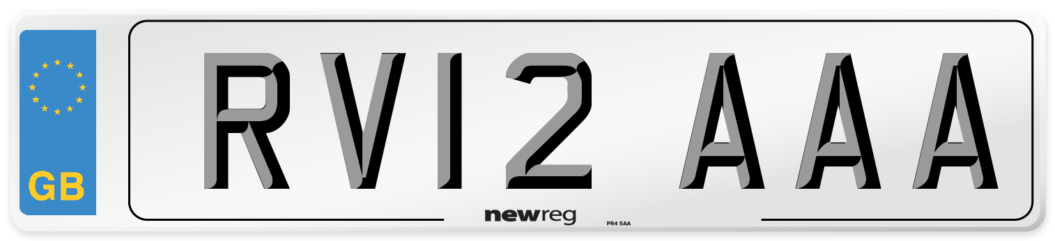 RV12 AAA Number Plate from New Reg