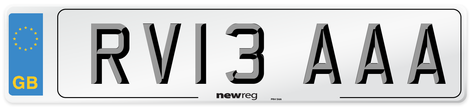 RV13 AAA Number Plate from New Reg