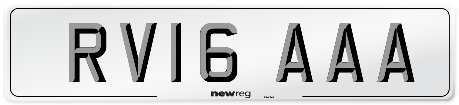 RV16 AAA Number Plate from New Reg