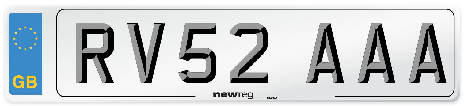 RV52 AAA Number Plate from New Reg