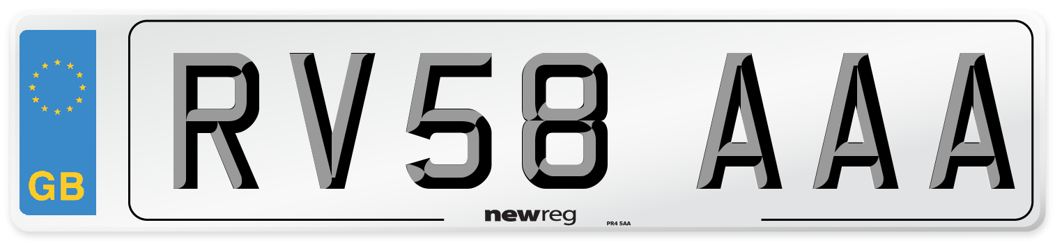 RV58 AAA Number Plate from New Reg