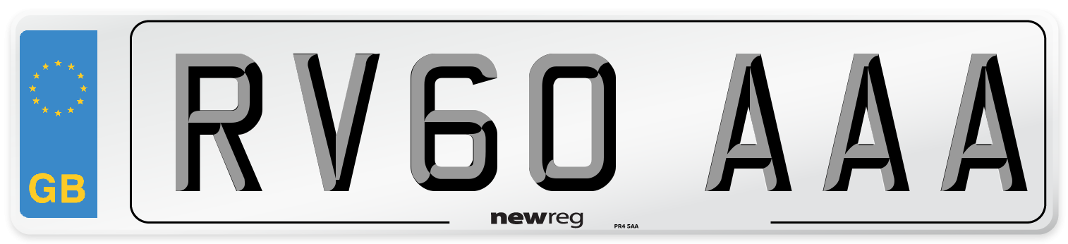RV60 AAA Number Plate from New Reg