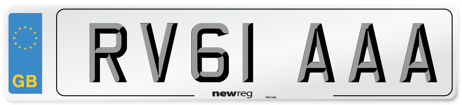 RV61 AAA Number Plate from New Reg