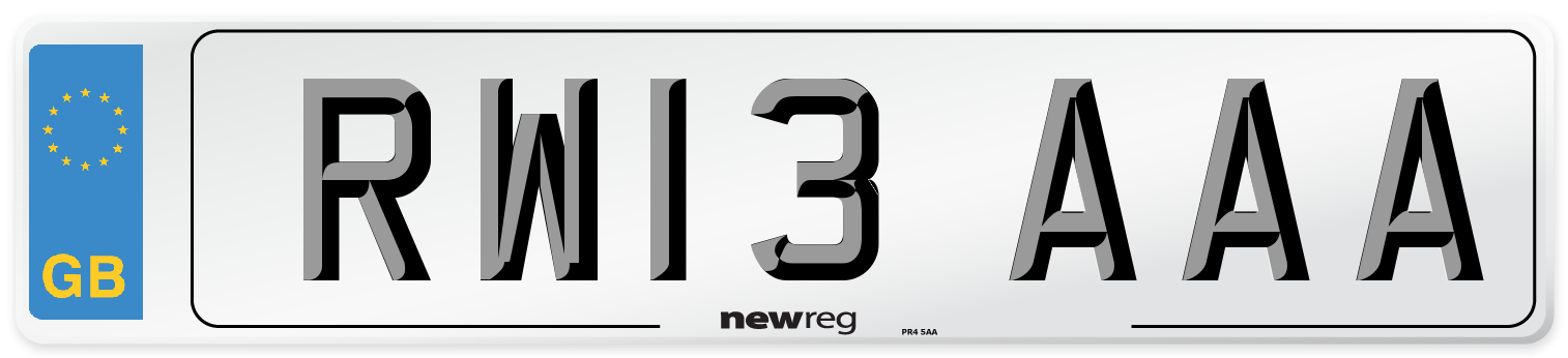 RW13 AAA Number Plate from New Reg