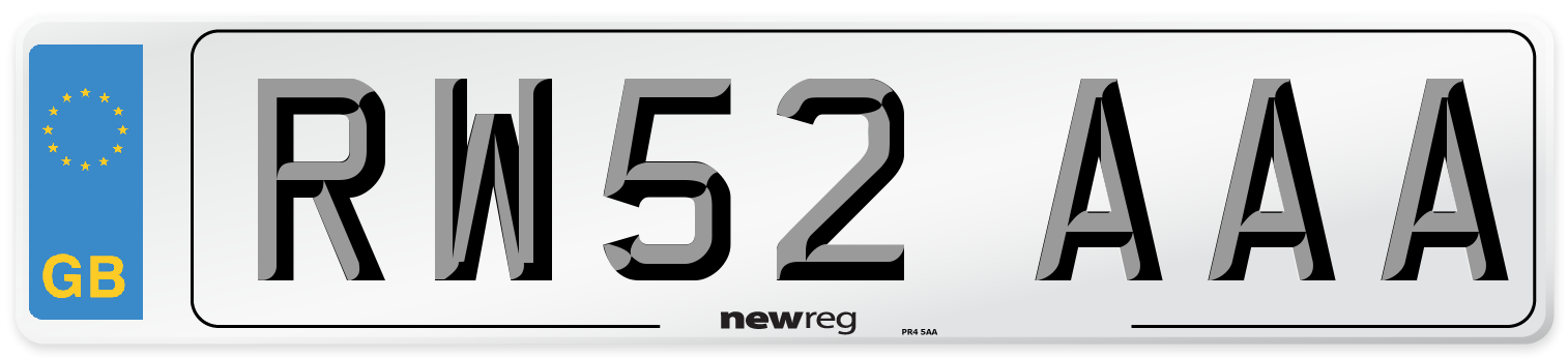 RW52 AAA Number Plate from New Reg