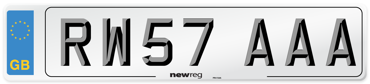 RW57 AAA Number Plate from New Reg