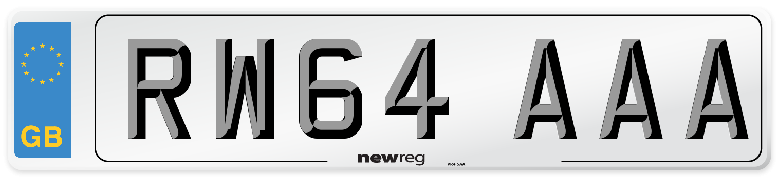RW64 AAA Number Plate from New Reg