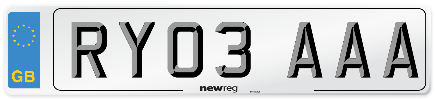 RY03 AAA Number Plate from New Reg