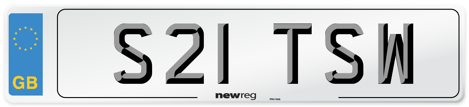 S21 TSW Number Plate from New Reg