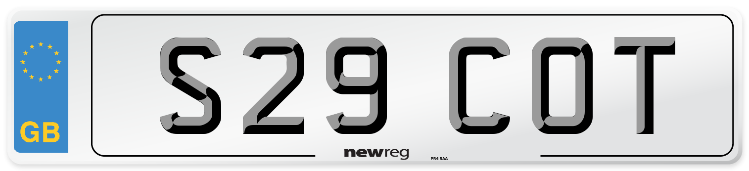 S29 COT Number Plate from New Reg