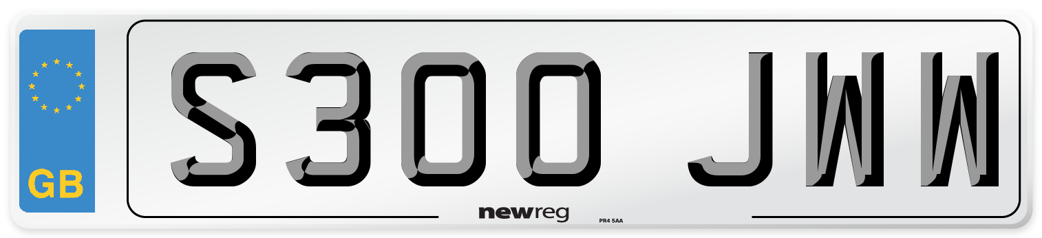 S300 JWW Number Plate from New Reg