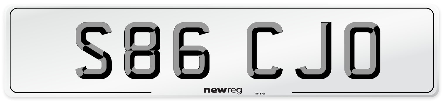 S86 CJO Number Plate from New Reg