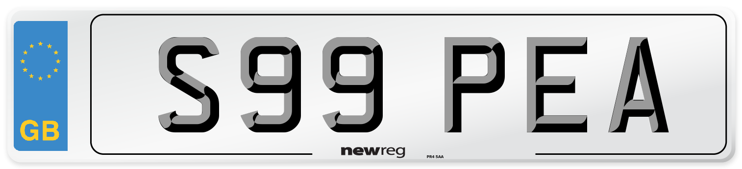 S99 PEA Number Plate from New Reg