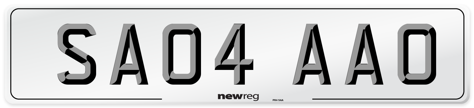 SA04 AAO Number Plate from New Reg
