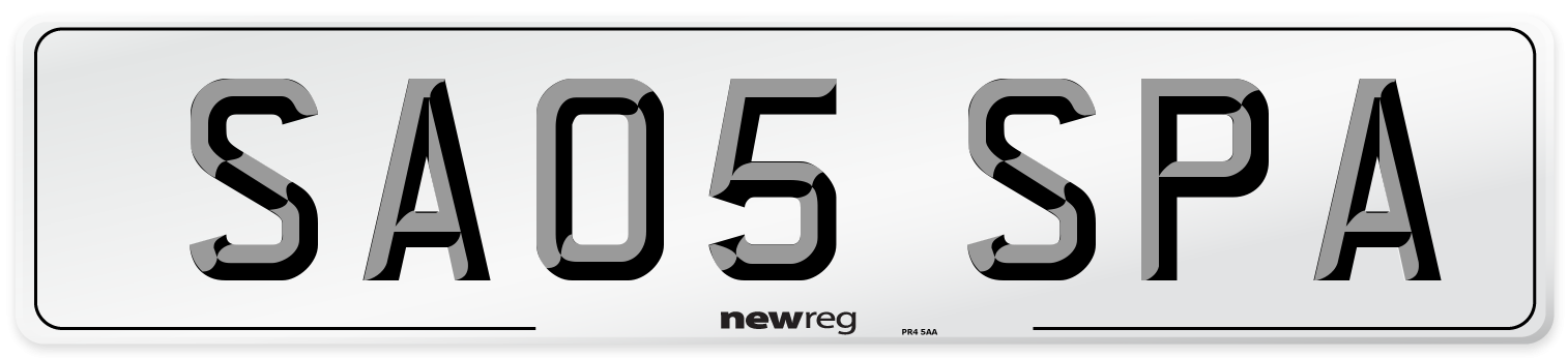 SA05 SPA Number Plate from New Reg