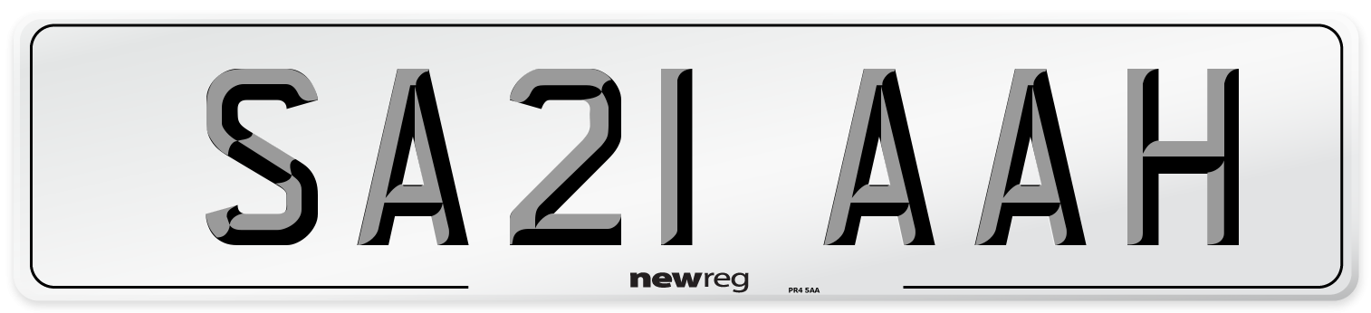 SA21 AAH Number Plate from New Reg