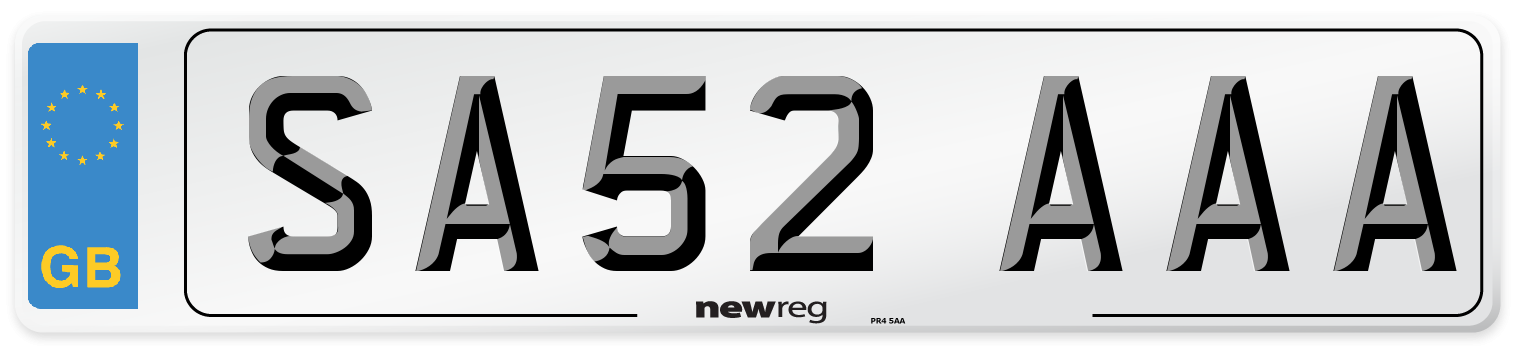 SA52 AAA Number Plate from New Reg