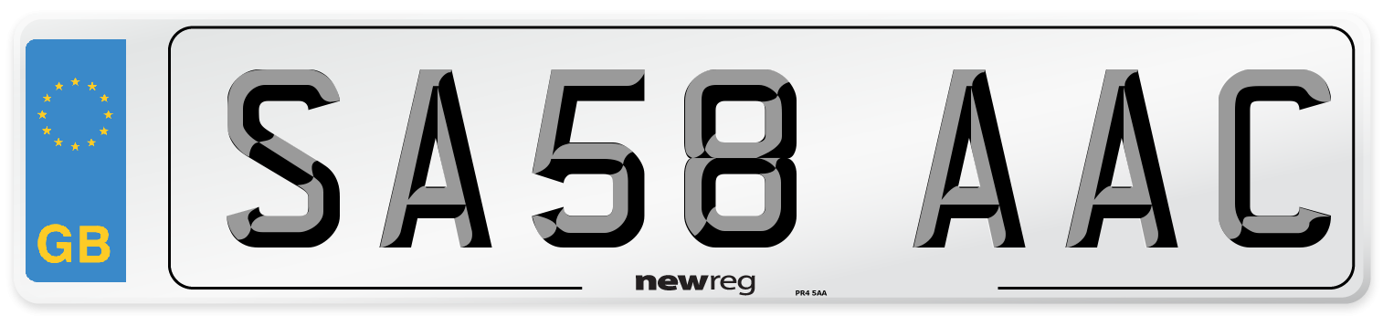 SA58 AAC Number Plate from New Reg