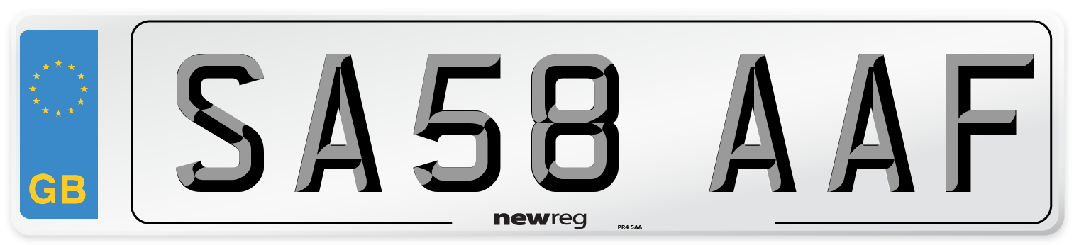 SA58 AAF Number Plate from New Reg