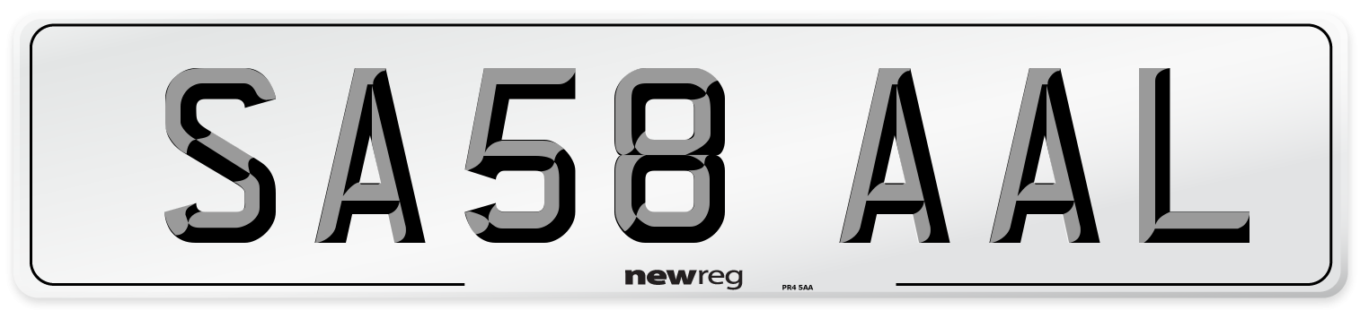 SA58 AAL Number Plate from New Reg