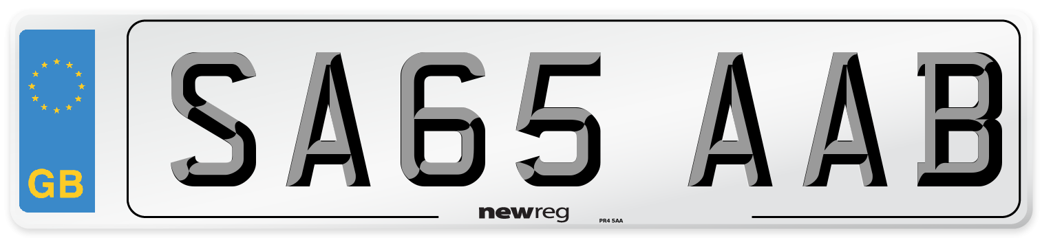 SA65 AAB Number Plate from New Reg