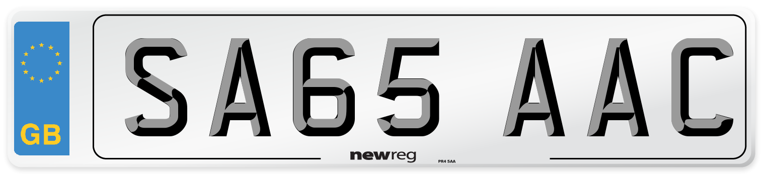SA65 AAC Number Plate from New Reg