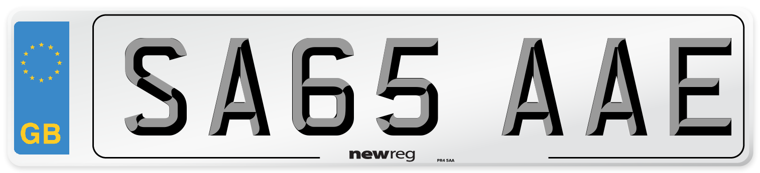 SA65 AAE Number Plate from New Reg