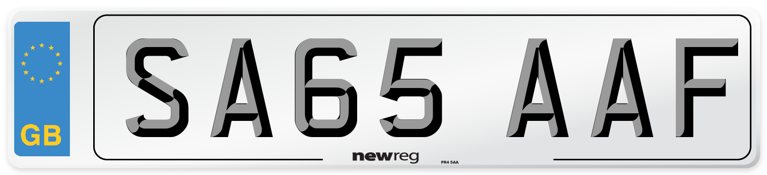 SA65 AAF Number Plate from New Reg