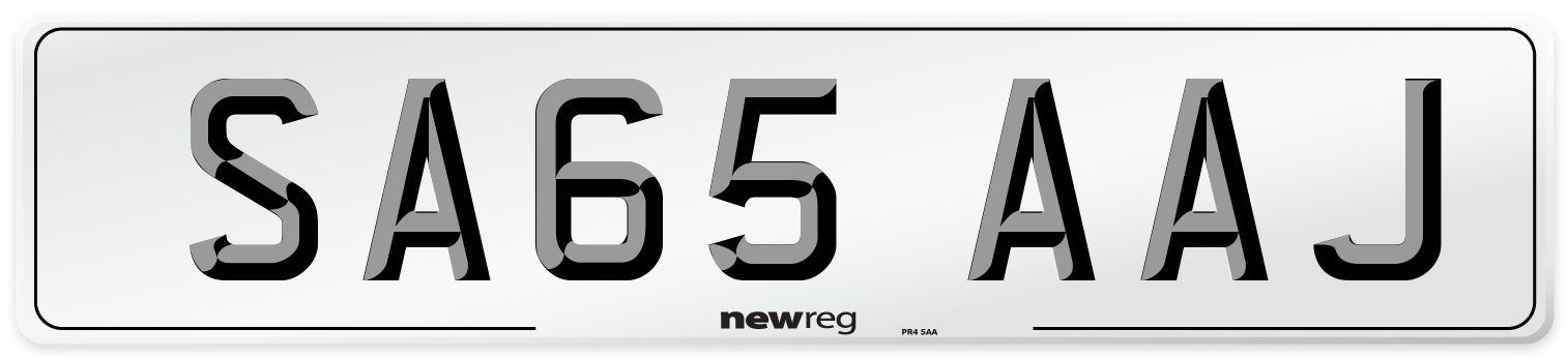 SA65 AAJ Number Plate from New Reg