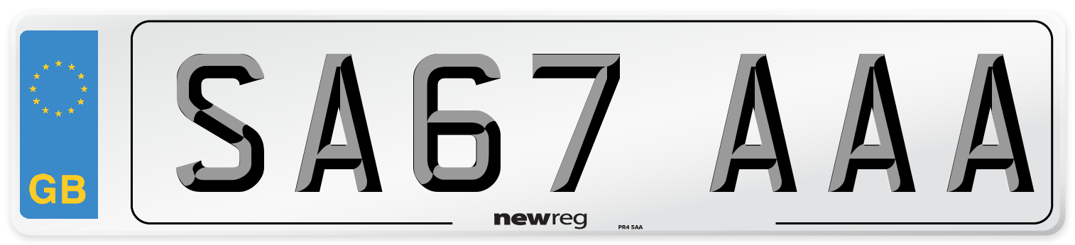 SA67 AAA Number Plate from New Reg