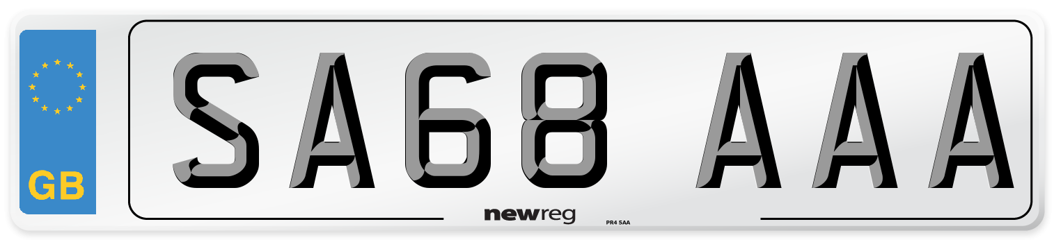 SA68 AAA Number Plate from New Reg