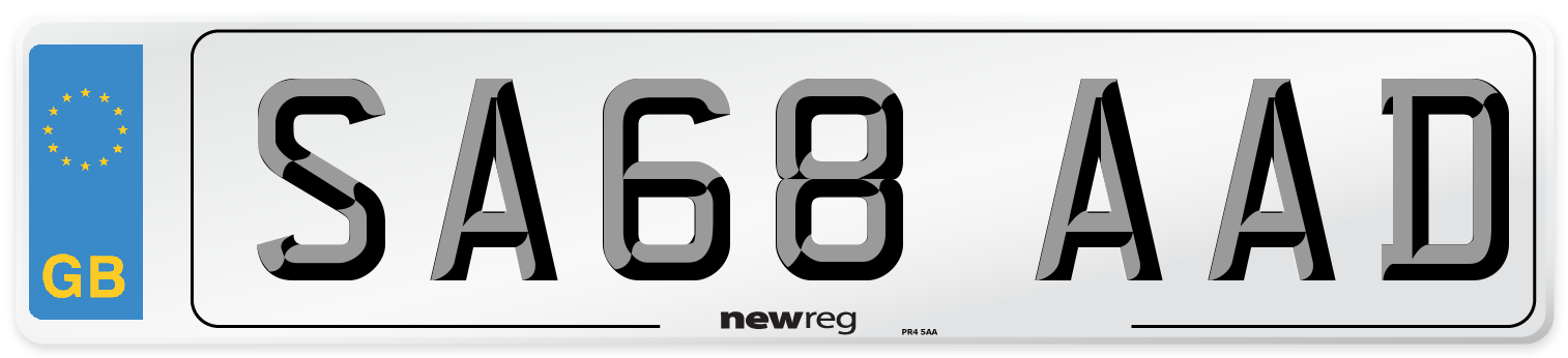 SA68 AAD Number Plate from New Reg