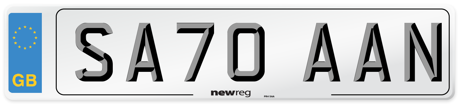 SA70 AAN Number Plate from New Reg