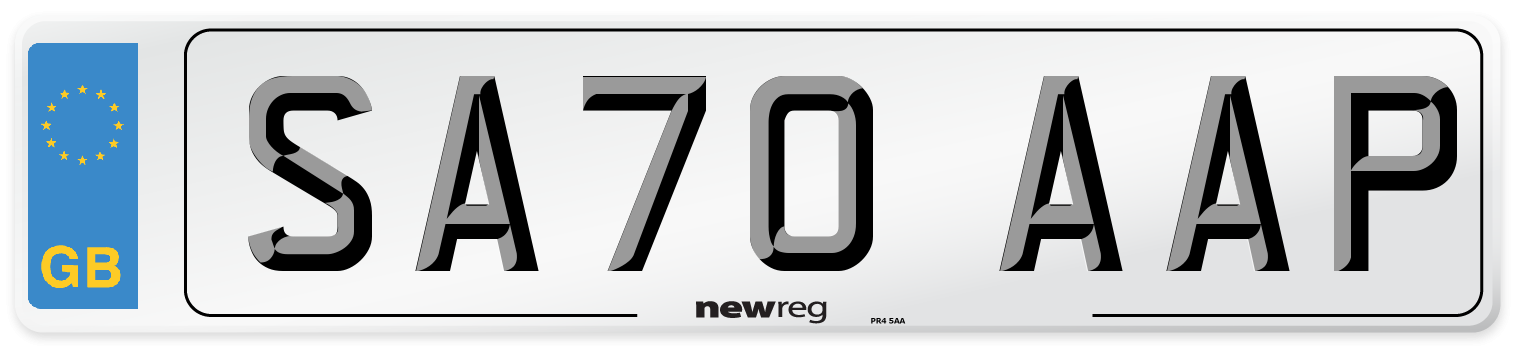 SA70 AAP Number Plate from New Reg