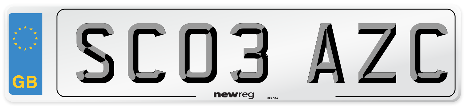 SC03 AZC Number Plate from New Reg