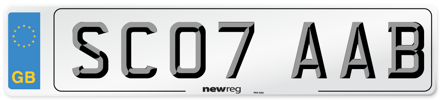 SC07 AAB Number Plate from New Reg