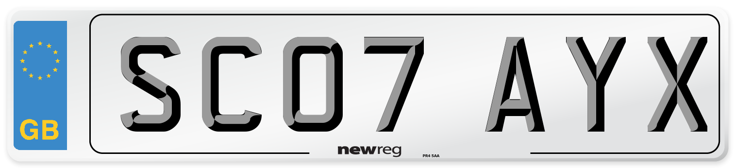 SC07 AYX Number Plate from New Reg