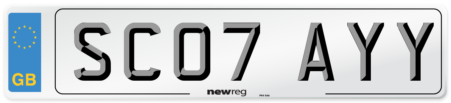 SC07 AYY Number Plate from New Reg