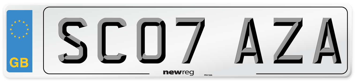 SC07 AZA Number Plate from New Reg