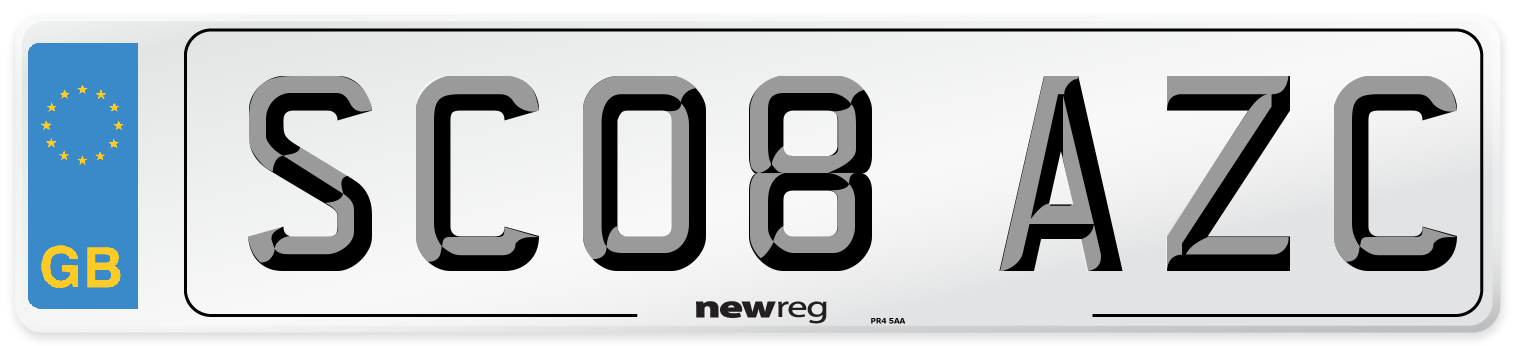 SC08 AZC Number Plate from New Reg