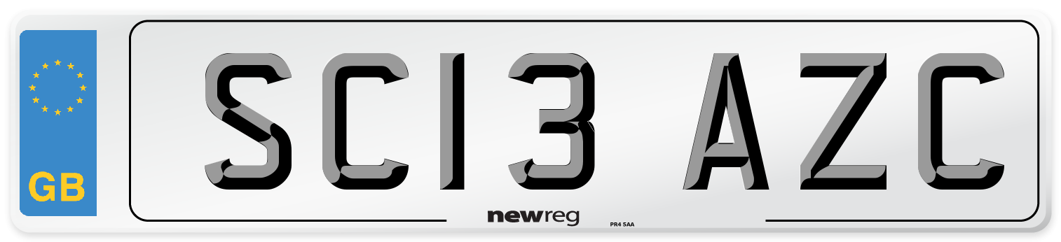 SC13 AZC Number Plate from New Reg